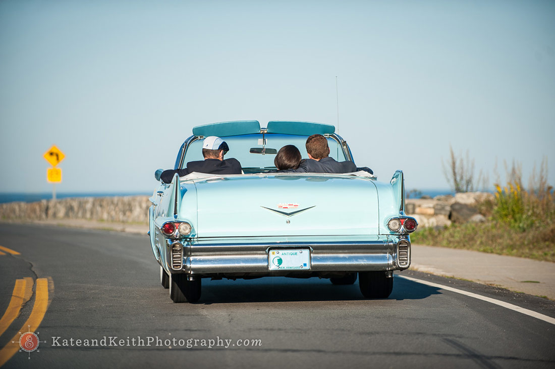 Bride and groom in car at New Hampshire seacoast wedding