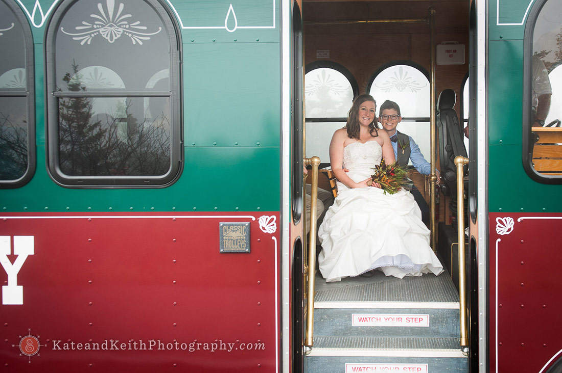 Cadillac Mountain wedding ceremony Acadia National Park trolley