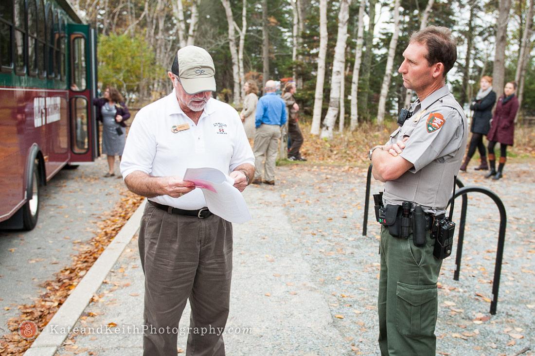 Cadillac Mountain wedding ceremony Acadia National Park ranger