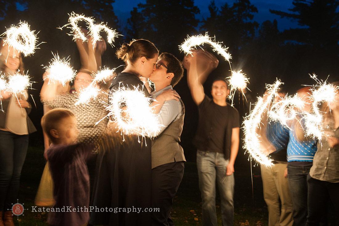 Sparklers Acadia National Park Wedding