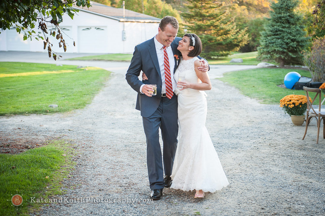 bride groom gravel path New Hampshire Seacoast wedding