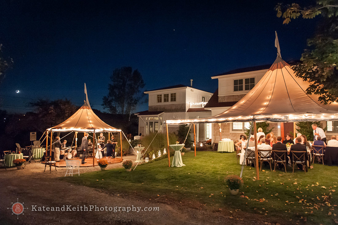 Nighttime lighted tent wedding reception