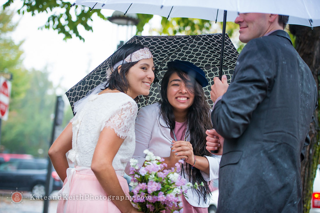 downtown Nantucket rainy Wedding photos