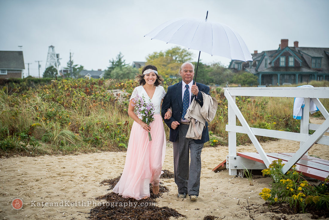 Nantucket Lighthouse Wedding bride and father
