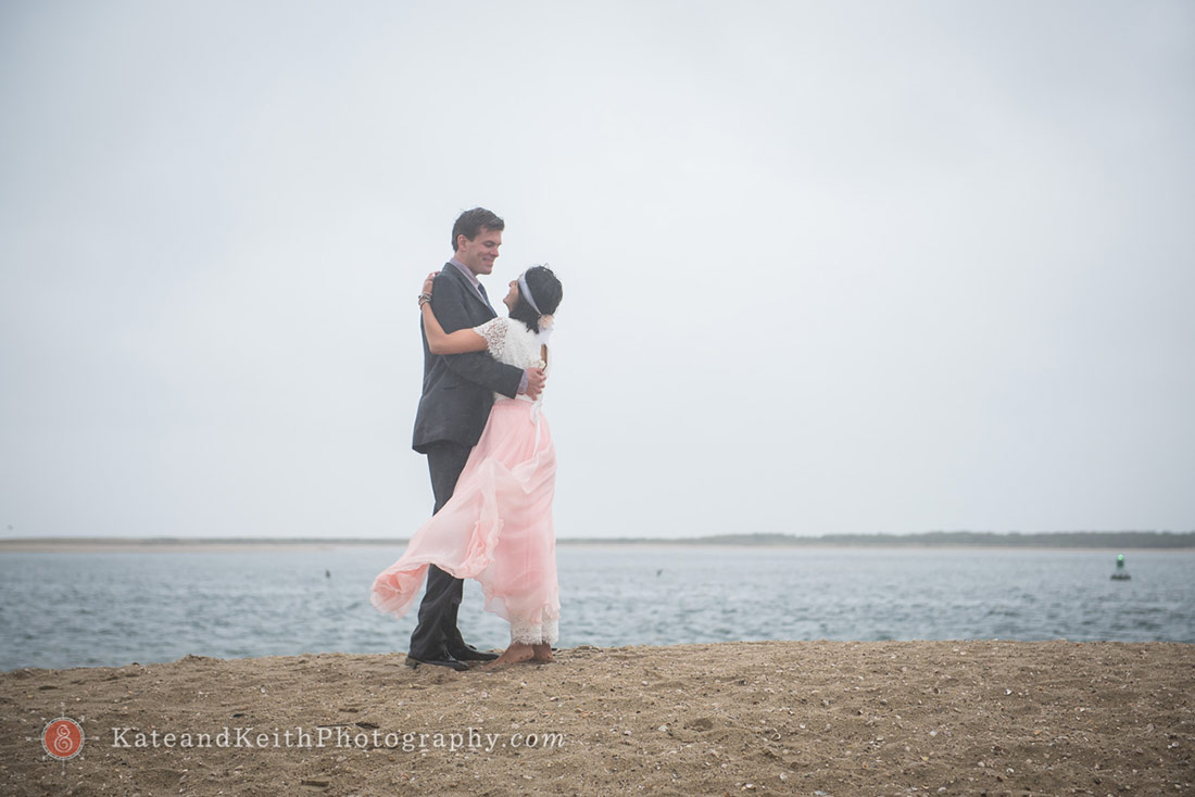Nantucket Wedding beach bride and groom