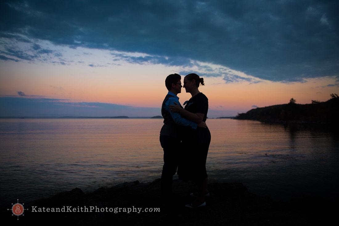Sunset Acadia National Park Wedding