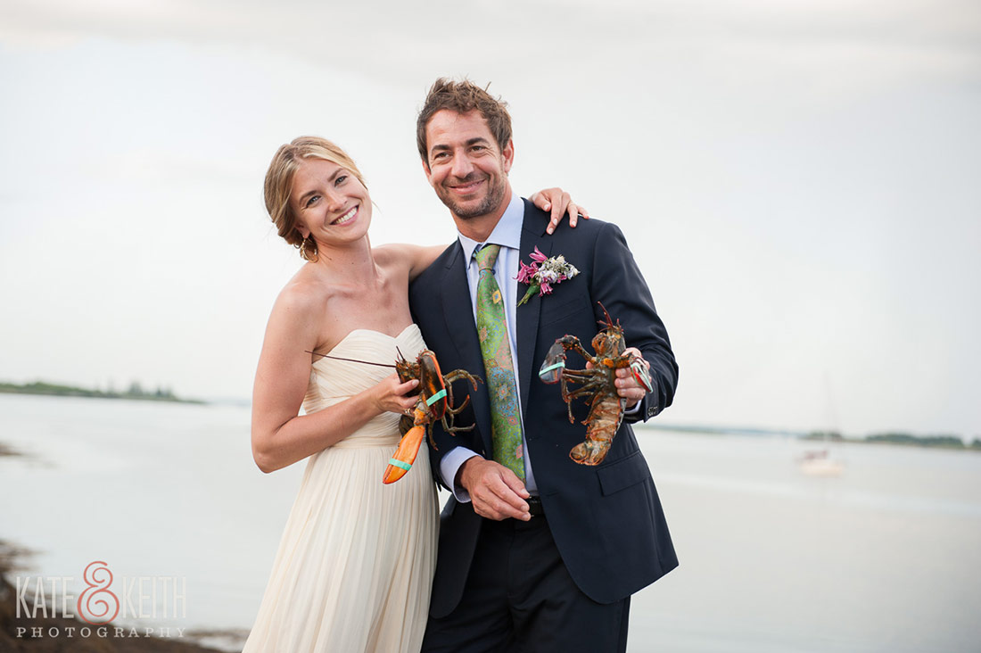Cliff Island Wedding bride groom lobster bake