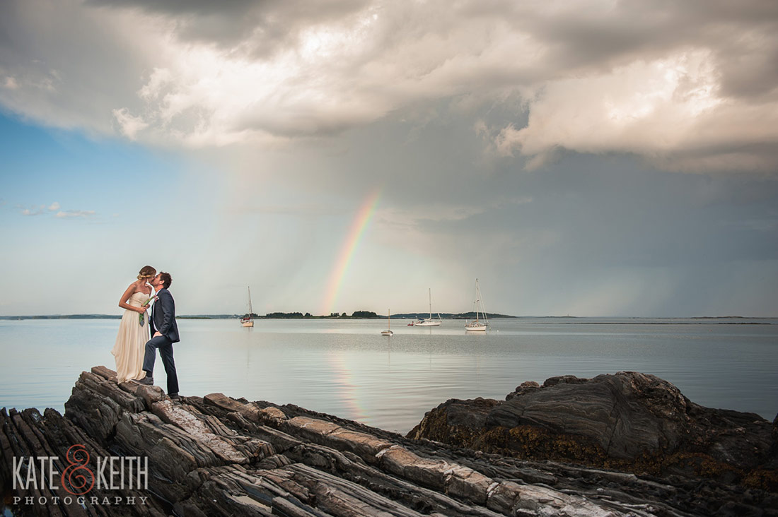 Cliff Island Wedding rainbow bride groom