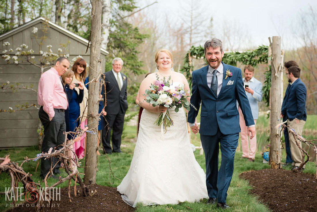 Hidden Pond wedding Kennebunkport, Maine walking down the aisle