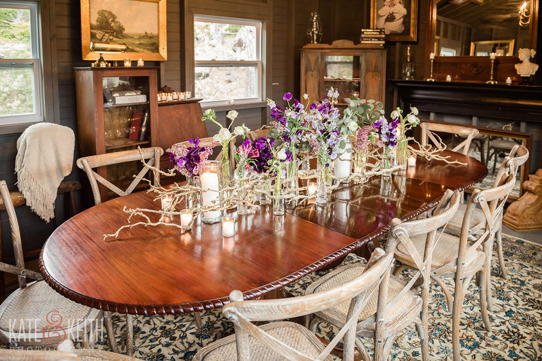 Hidden Pond wedding Kennebunkport, Maine woodshed dining