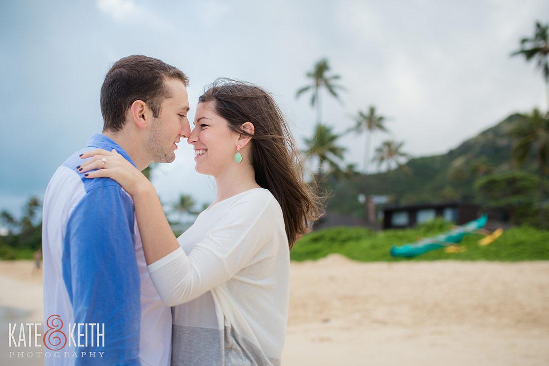 Lanikai Beach engagement session for a destination wedding