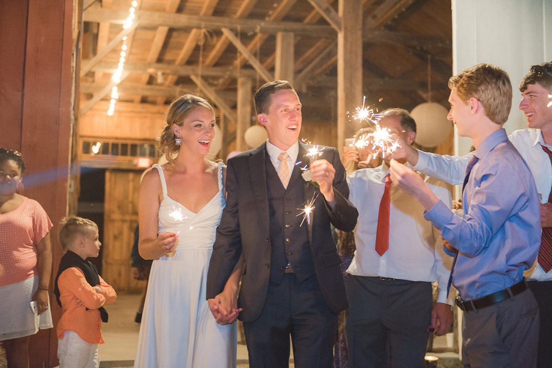 rustic barn wedding sparkler exit