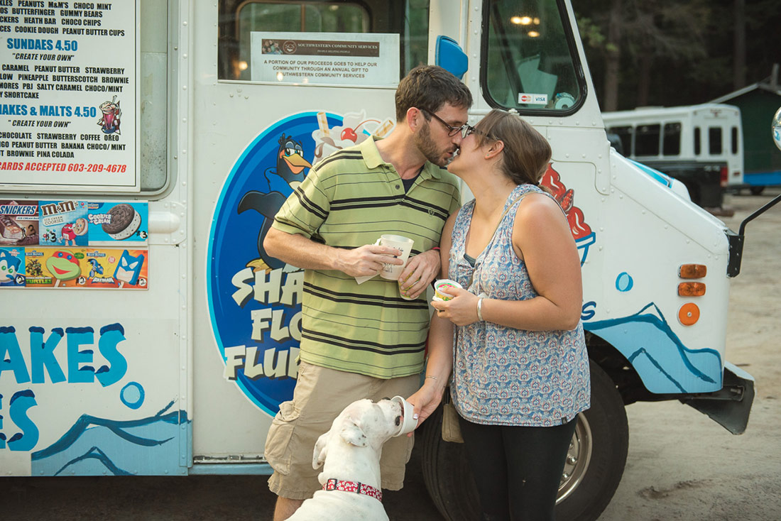 bride and groom at ice cream truck