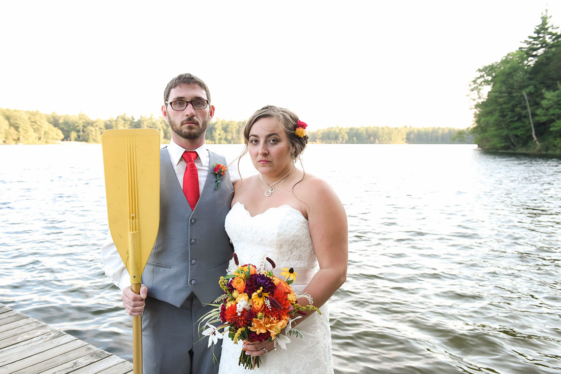 bride and groom american gothic camp wedding