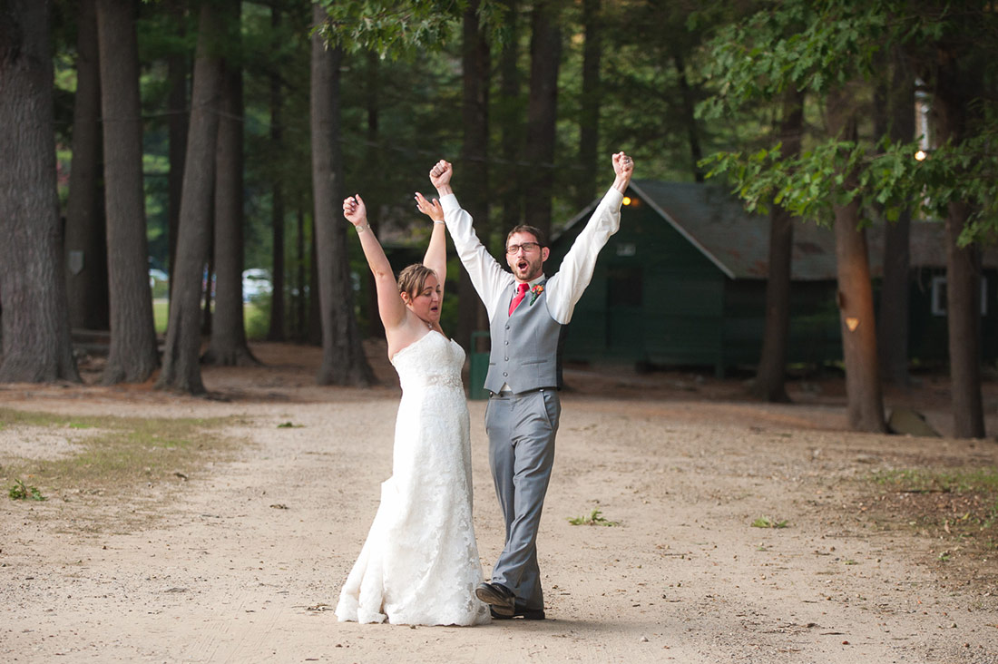 bride and groom on dirt road