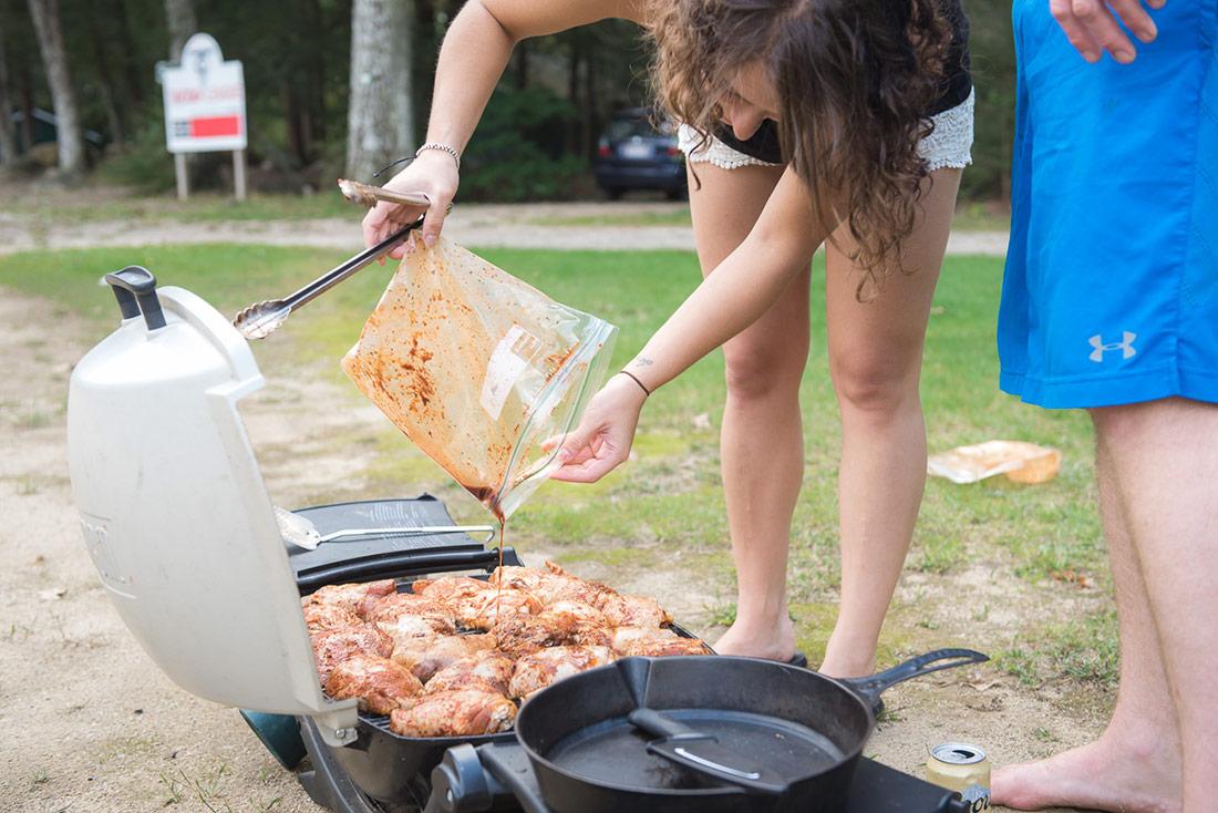 barbecue at camp wedding