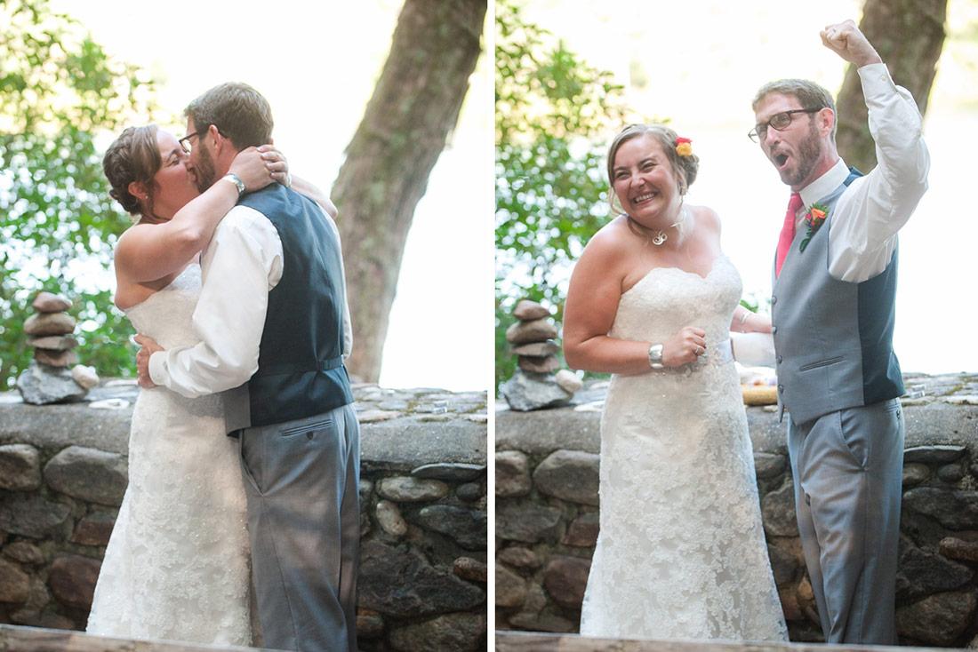 camp wedding first kiss