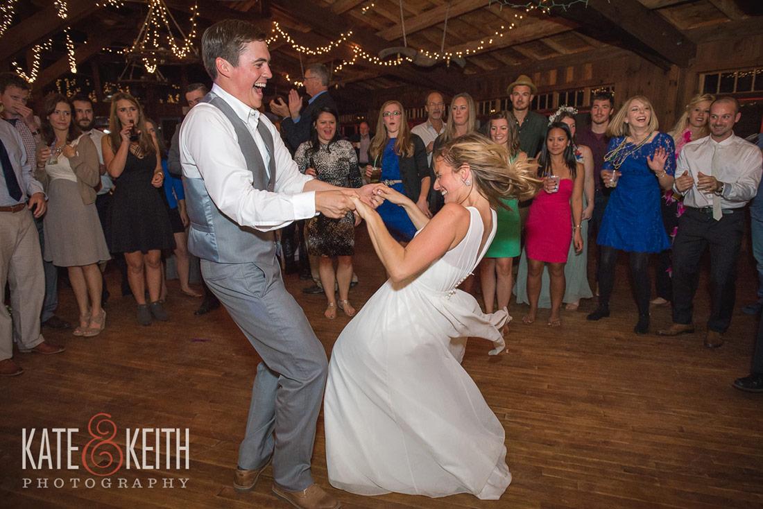 wedding reception dancing at Camp Waziyatah