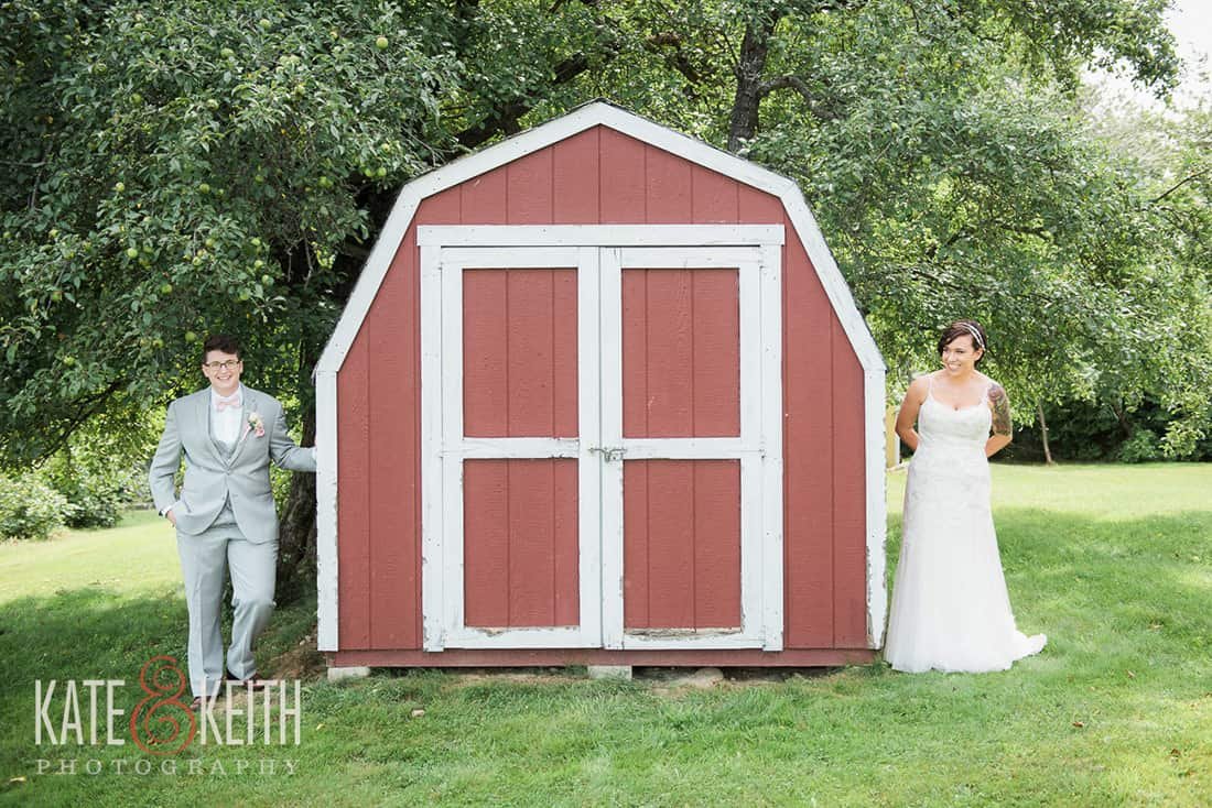 two gorgeous brides from same sex wedding at Monadnock Berry Farm