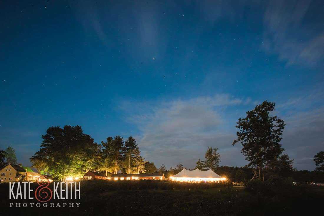 Night time wedding at monadnock berry farm in NH