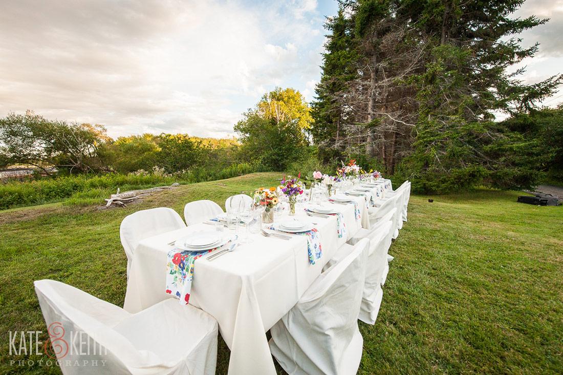 Cliff Island Wedding dinner table