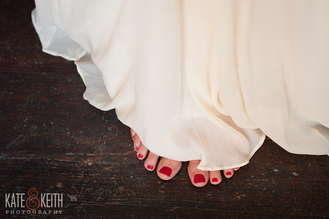 Cliff Island Wedding bride toenails