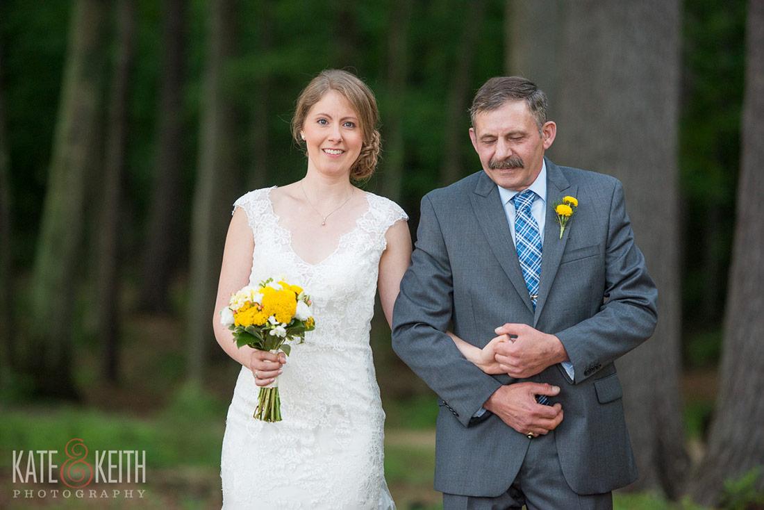 Sebago Lake Wedding ceremony father bride