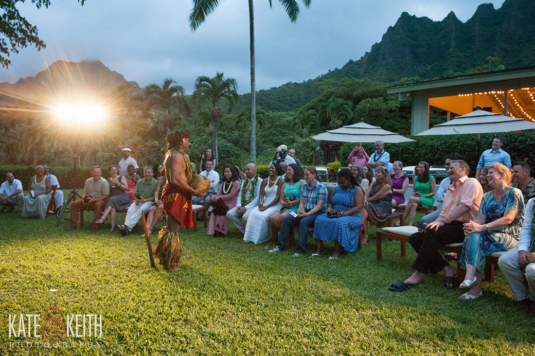 Polynesian exhibit at Kualoa Ranch Wedding in Kaneohe Hawaii