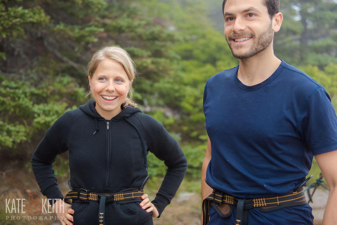Acadia couple rock climbing post wedding! Acadia engagement photos