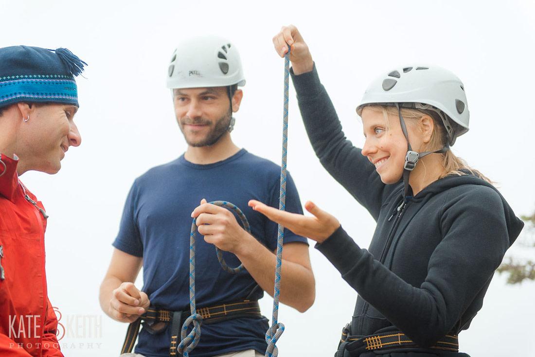Acadia couple rock climbing post wedding engagement photos!