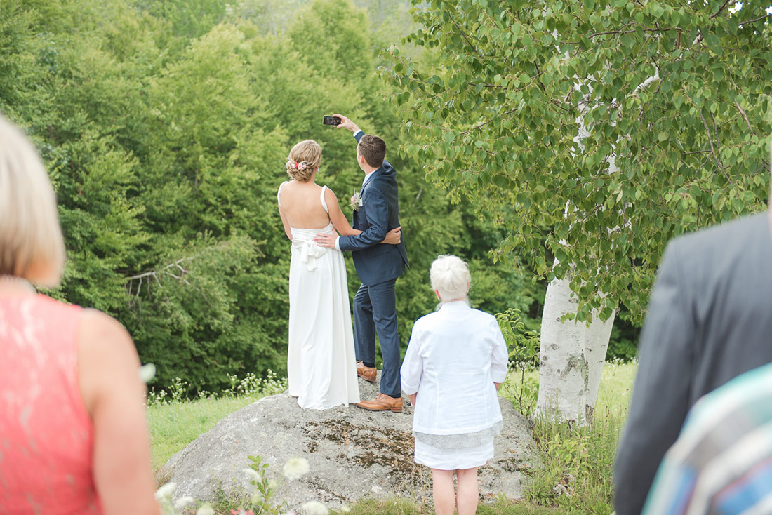 wedding selfie outside at Kitz Farm NH