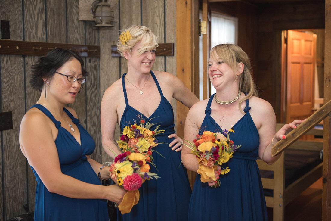camp wedding bridesmaids