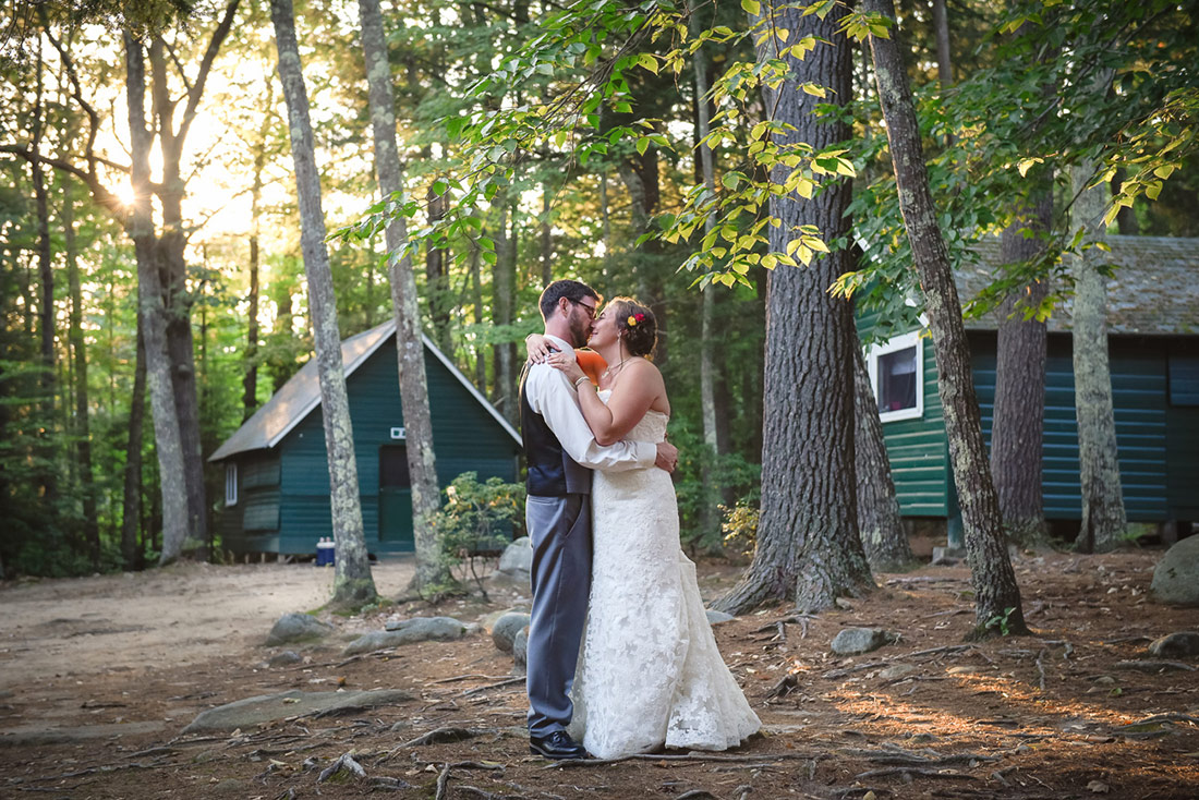 bride and groom portrait at camp wedding