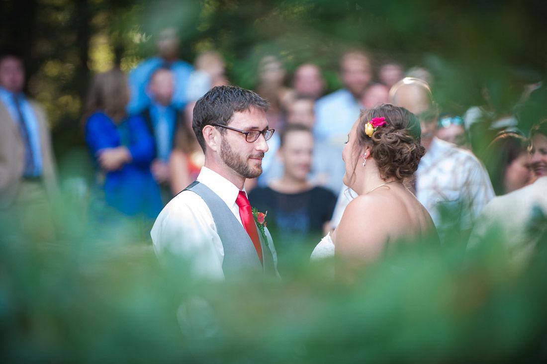 bride and groom camp wedding