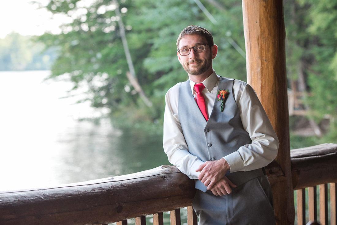 groom at camp wedding