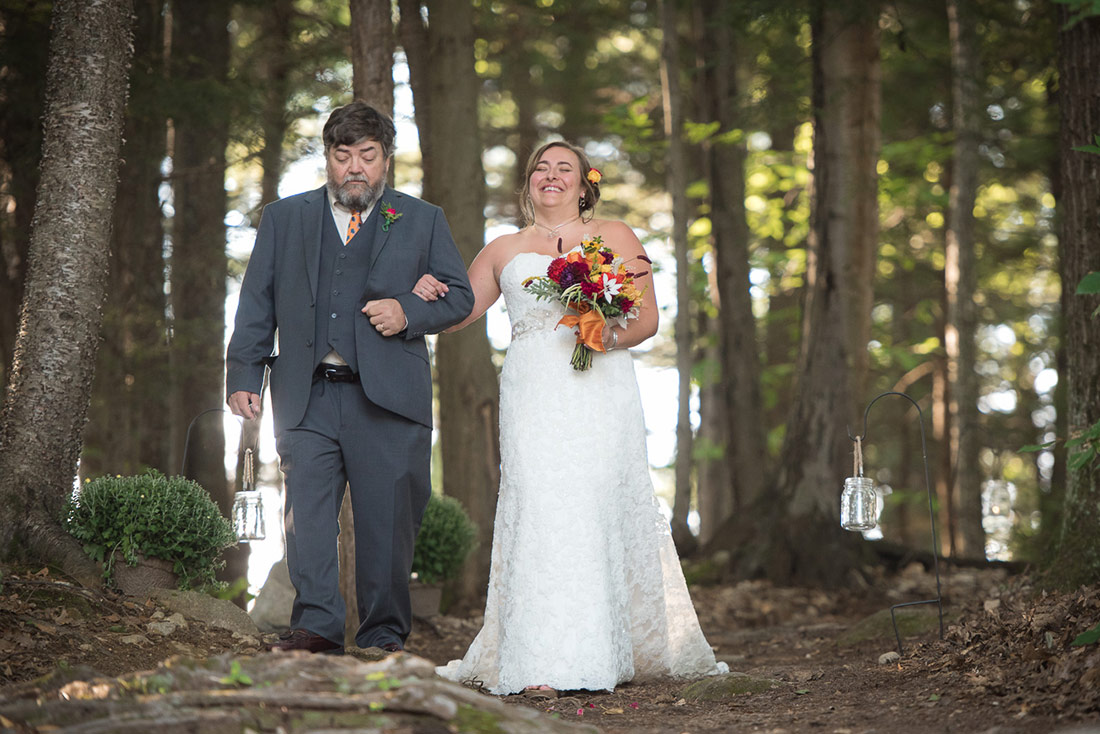 bride and father at camp wedding