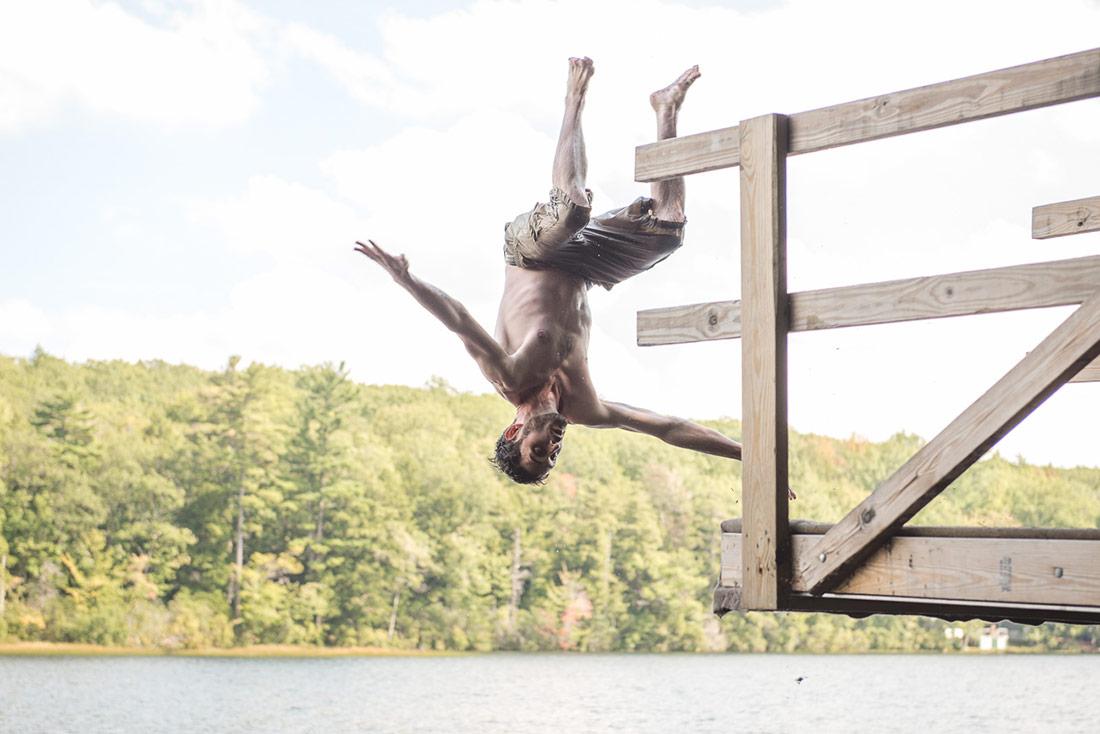 fun swimming at camp wedding