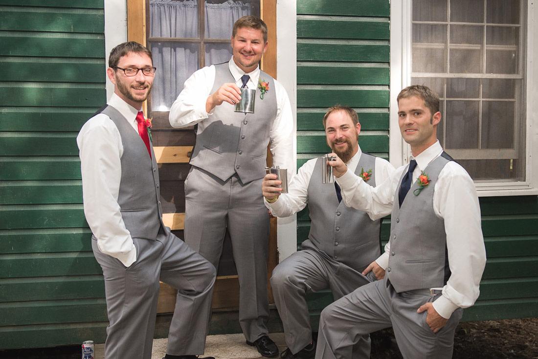 groomsmen at camp wedding