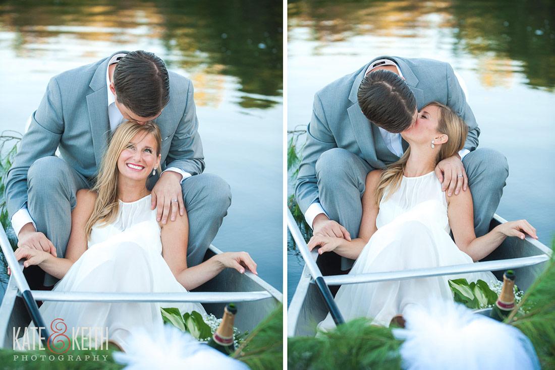 bride and groom kissing in canoe Camp Waziyatah Wedding