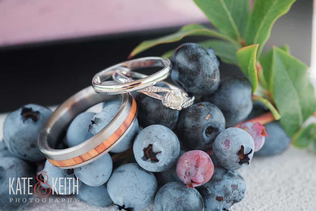 wedding rings and blueberries