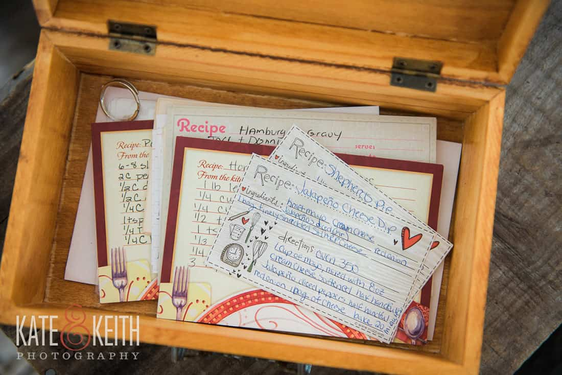 Wedding details recipe box