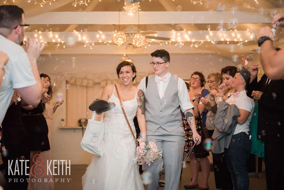 Formal exit at gay wedding